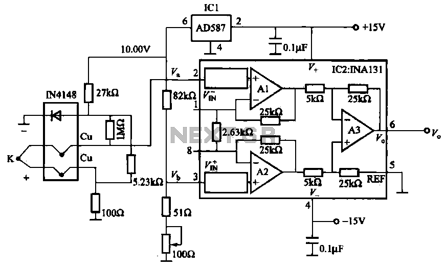 Thermocouple cold junction compensation amplifier circuit - schematic