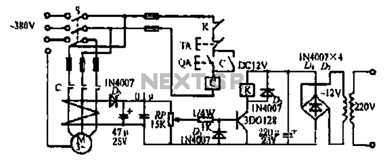 A three-phase motor phase automatic protection circuit - schematic