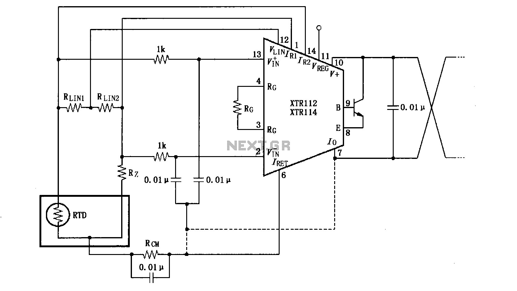 Electronic Circuit Page 16 Switching Other Circuits Nextgr Linearized Input Bypass Xtr112