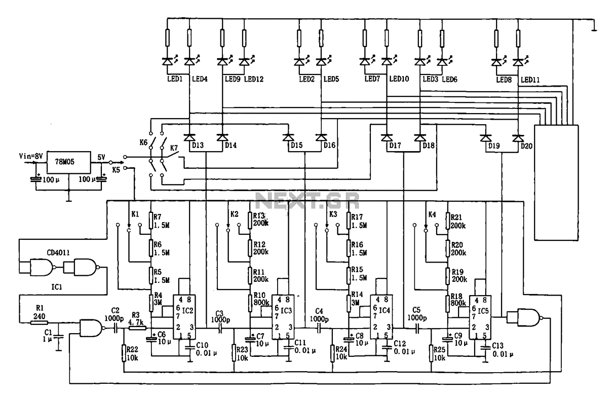Traffic intersection light automatic controller circuit