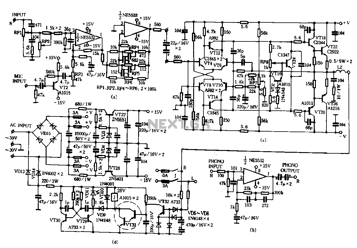 TA-1500 fever amplifier circuit - schematic