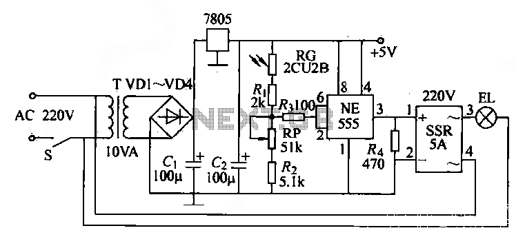 Automatic lighting switch circuit - schematic