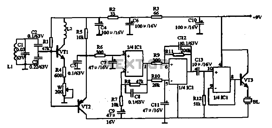 Metal detector circuit - schematic