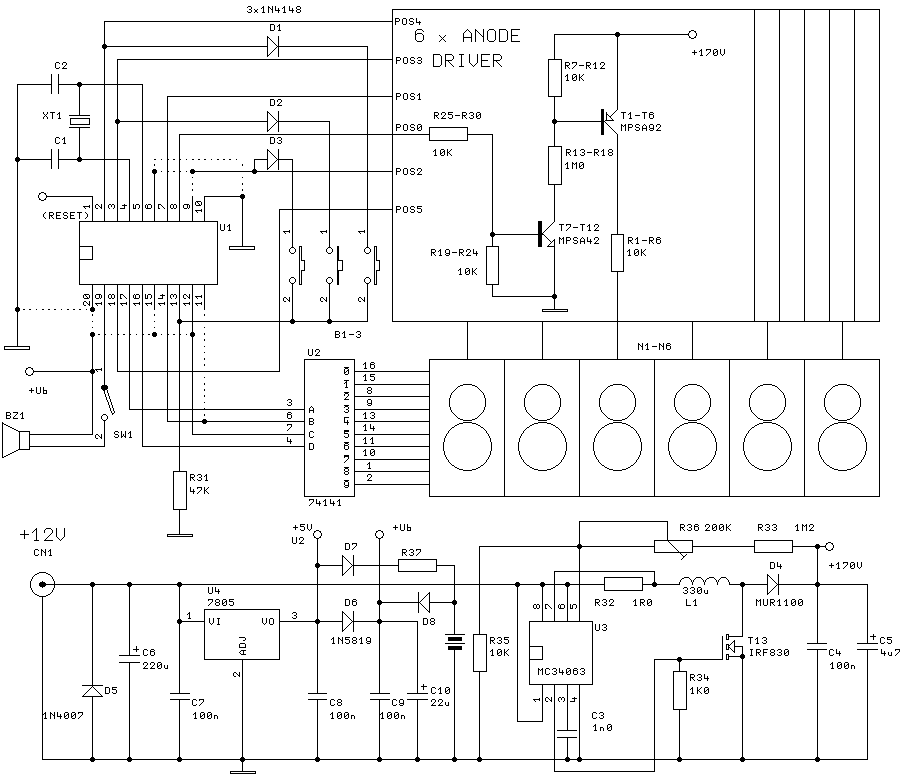 Digital Clock with 6 nixies - schematic