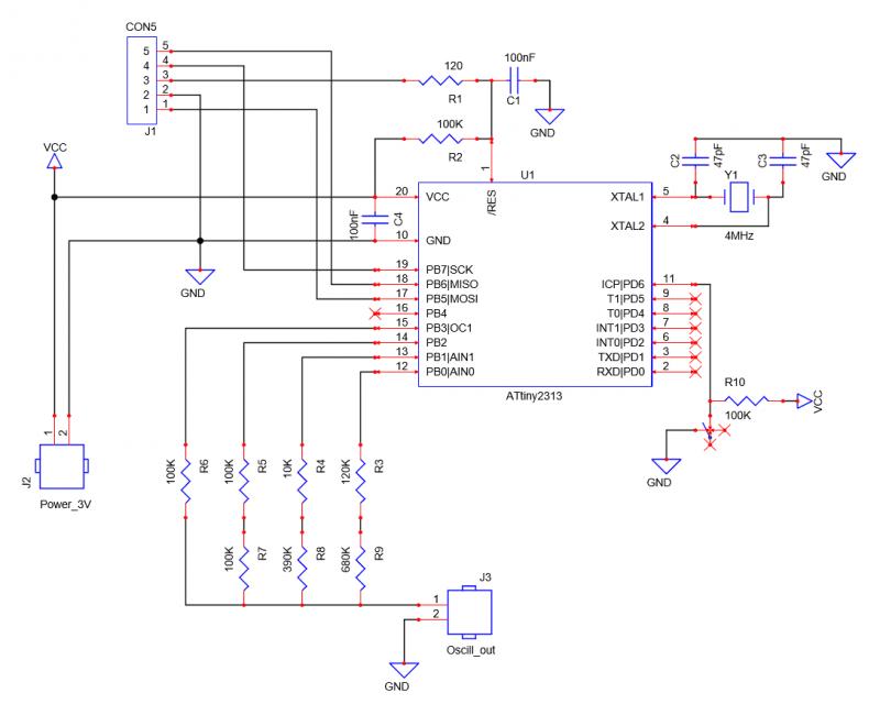AVR Microcontroller Digital Clock with ATtiny2313 - schematic