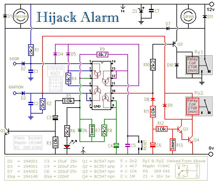 Two HiJack Alarms - schematic