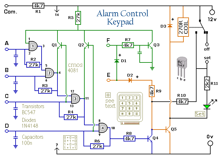 Enhanced 4 Digit Alarm Keypad - schematic