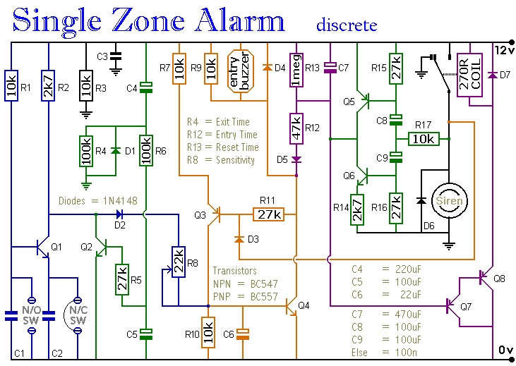 Single Zone Alarm - schematic