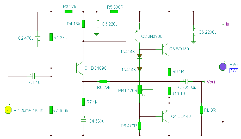 2 Watt Audio Amplifier - schematic