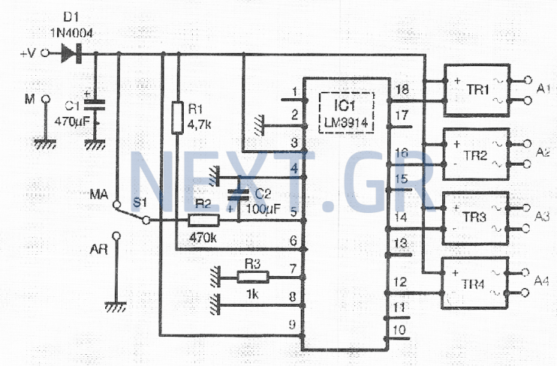 switching circuit other circuits next grsequential actuator for powering up to four devices