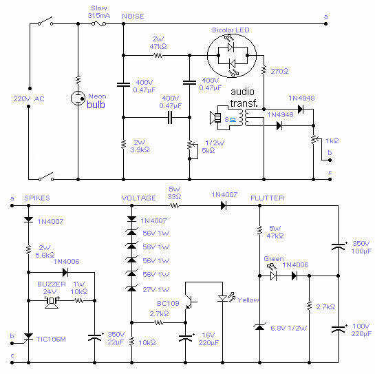 220V Mains Quality Monitor - schematic