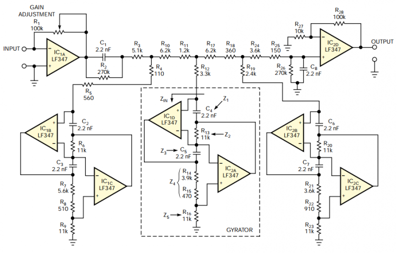 Brick-wall lowpass audio filter needs no tuning - schematic