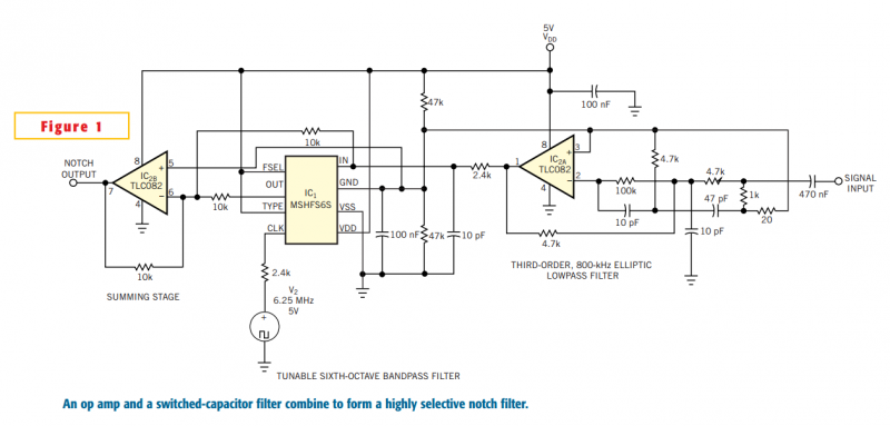 Adjustable high-frequency notch filter - schematic