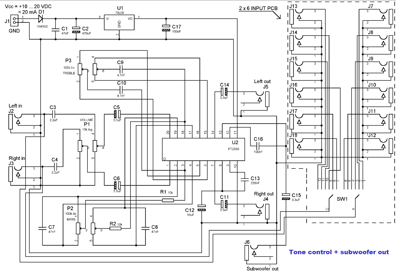 TONE CONTROL AND SUBWOOFER OUT - schematic