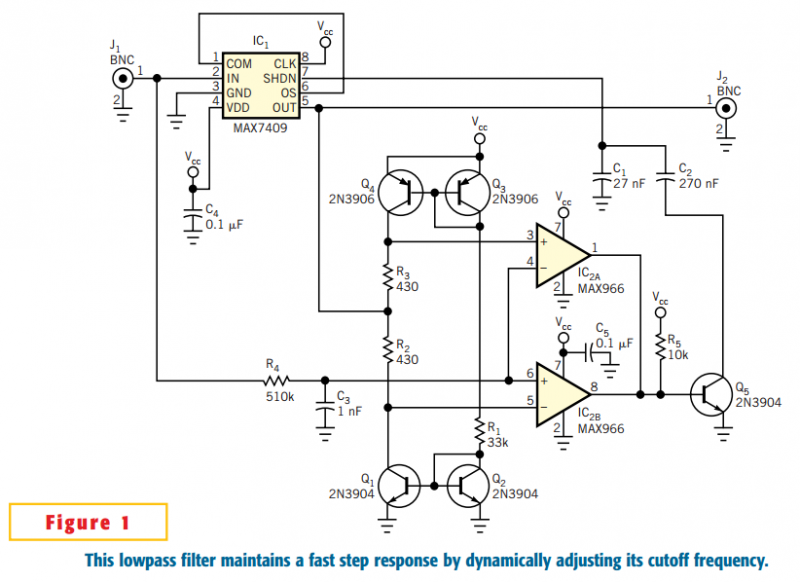 Lowpass filter has improved step response - schematic