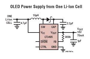 650mA Micropower Low Noise Boost Converter with Output Disconnect - schematic