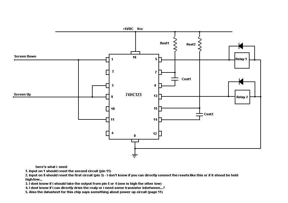 monostable multivibrator with a 74hc123 chip - schematic