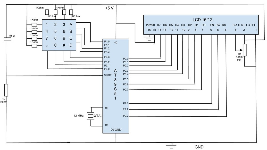 Keypad Talking To LCD Via AT89S51 - schematic