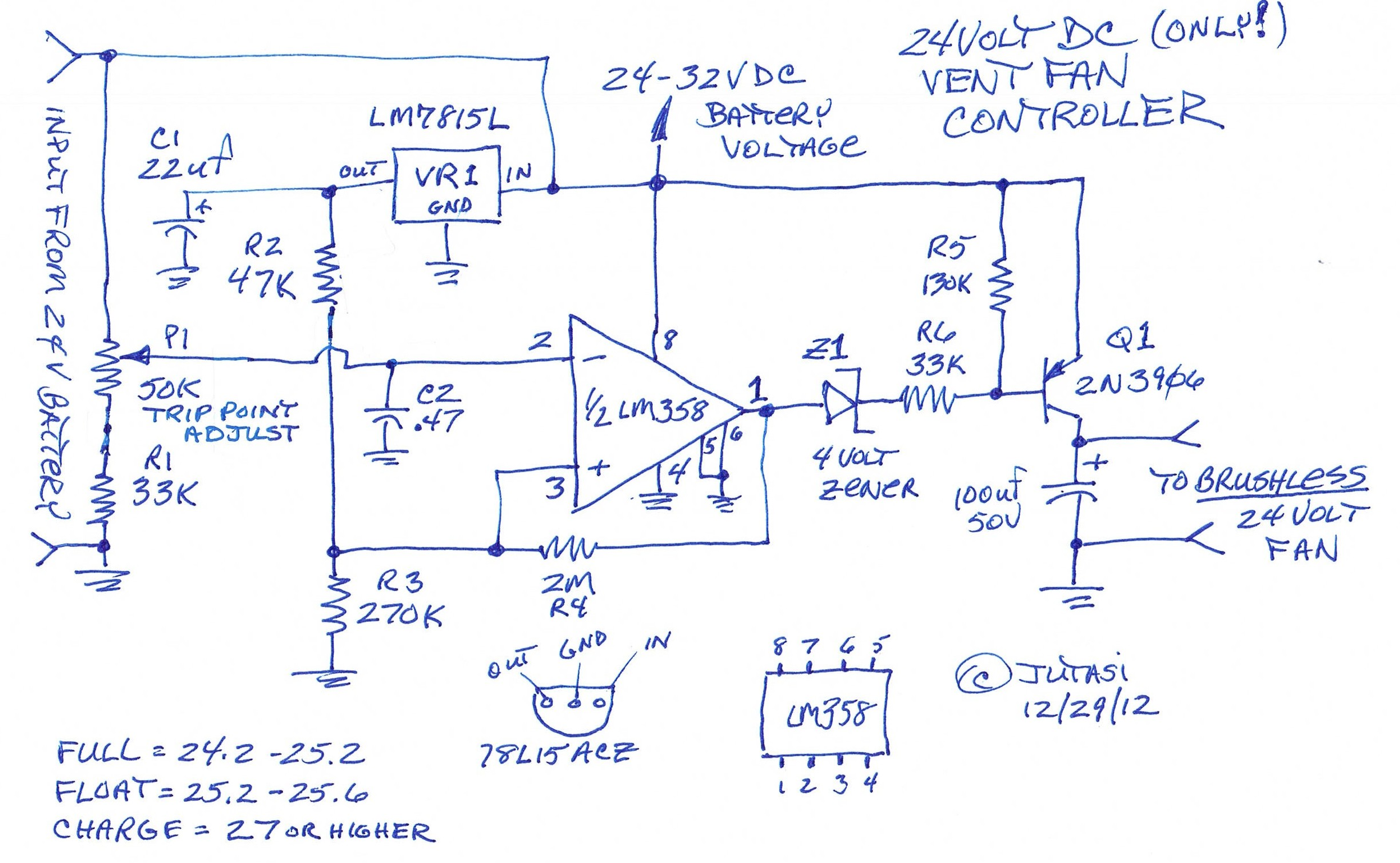 24 Volt Battery Box Vent Fan Control Circuit - schematic