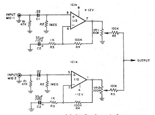 Pre MIC (microphone preamplifier) 2 CH by IC NE5532 or LF353 - schematic