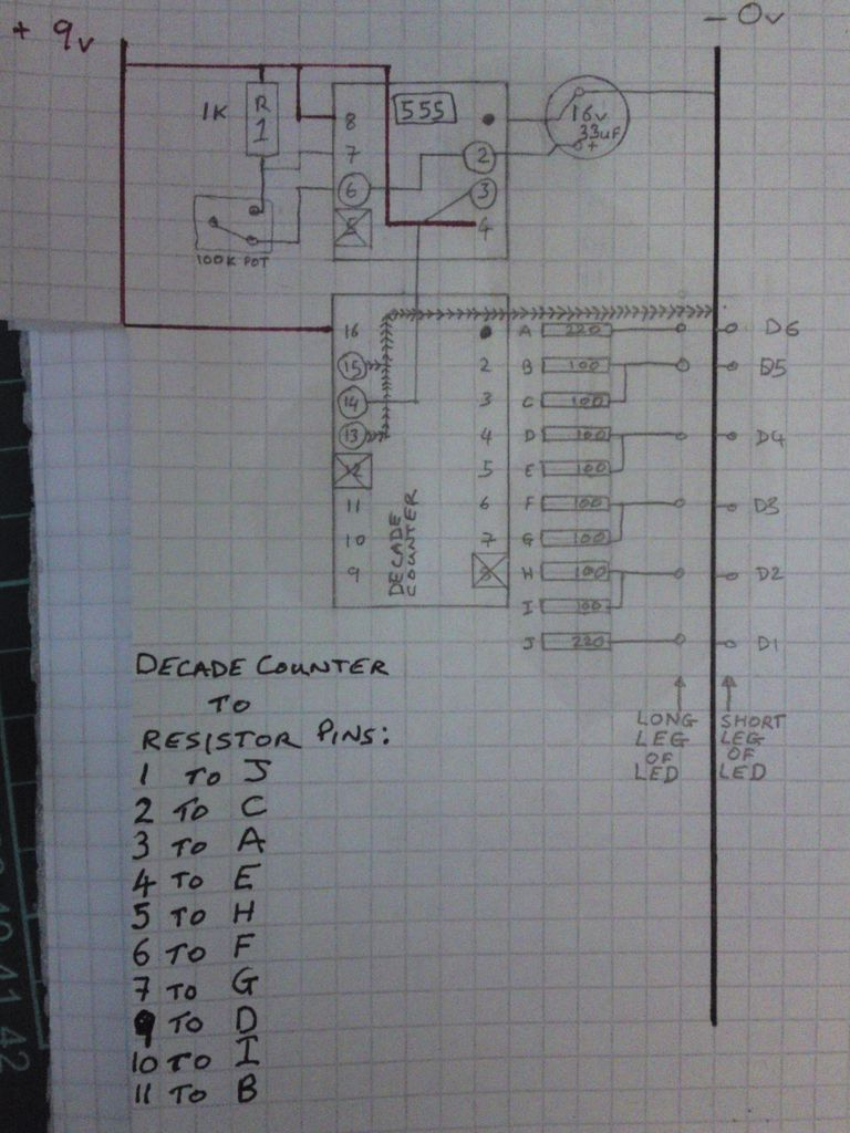 Knight Rider Circuit For RC CARS - schematic