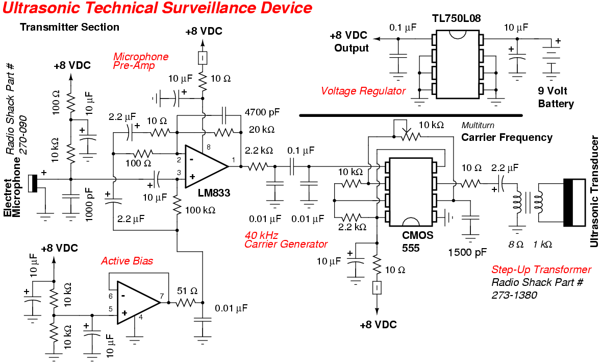 Ultrasonic Surveillance Bug circuit