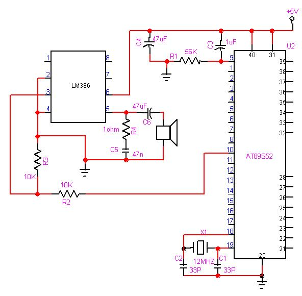 Playing Music With 8051 Microcontroller : ECE Mini Project - schematic