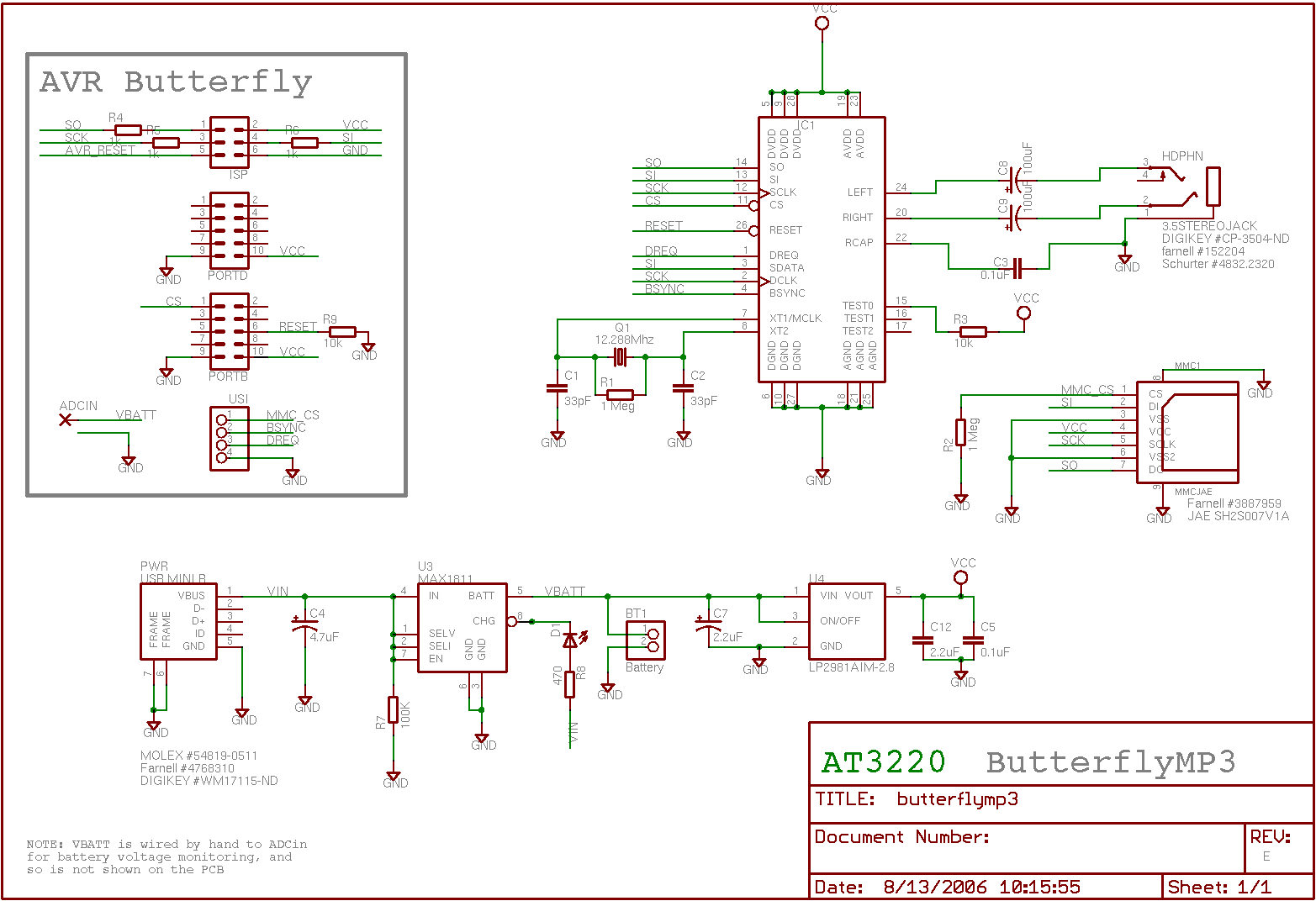 AVR Butterfly MP3 - schematic