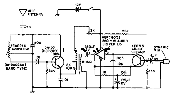 1-2 MHz radio transmitter circuit diagram - schematic
