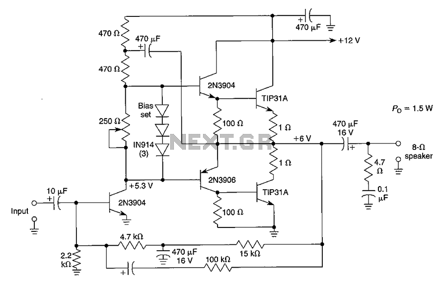 1.5 12W audio amplifier circuit diagram - schematic
