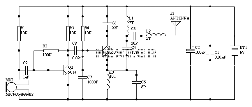 1000 m single-tube FM transmitter circuit diagram of oscillation - schematic