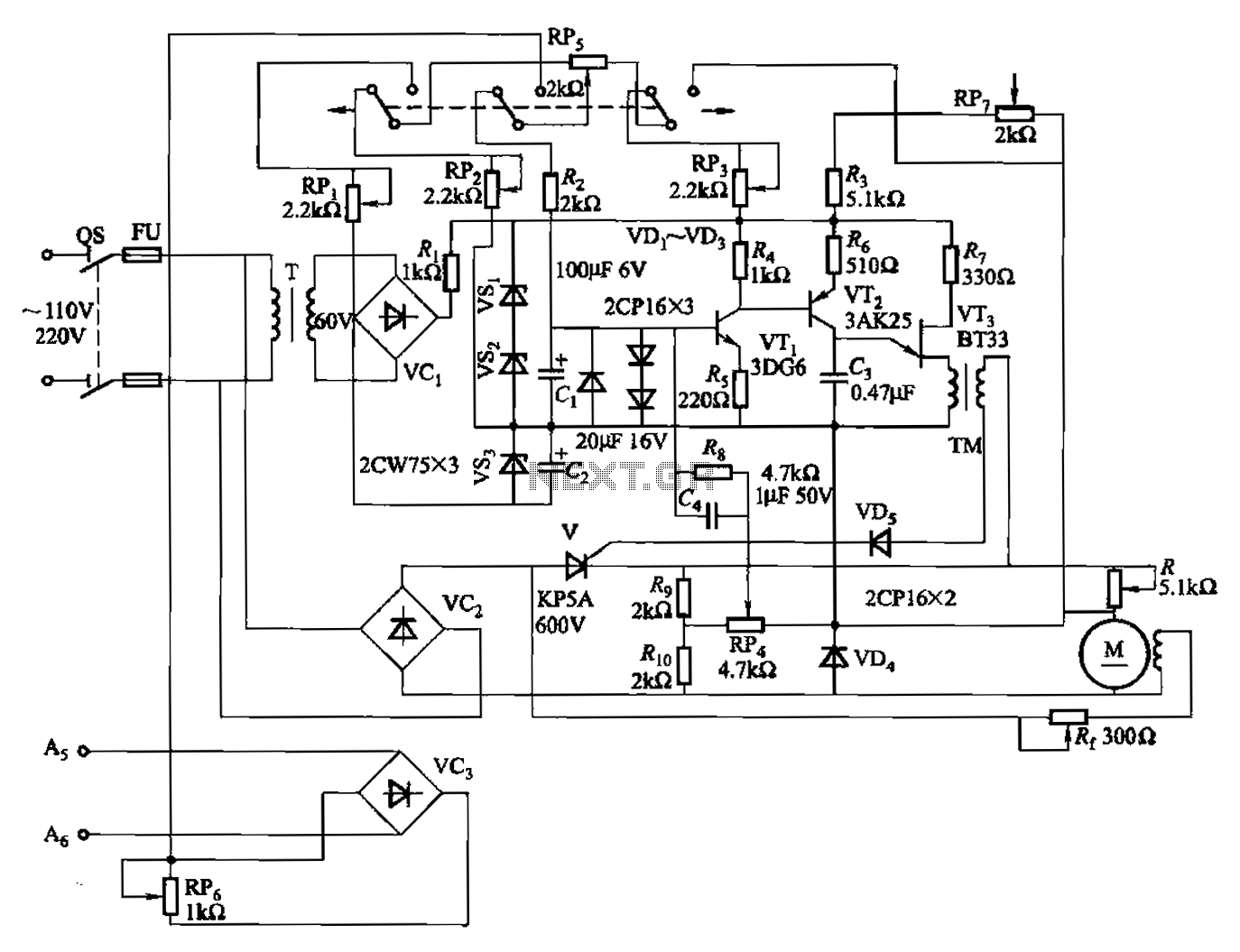 100W full-wave single-junction transistor trigger doer control circuit - schematic