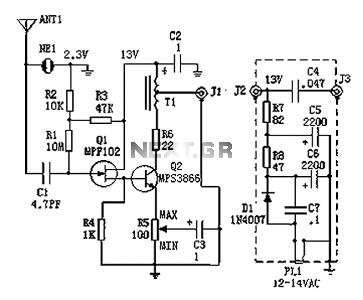 100kHz-30MHz active antenna circuit diagram - schematic