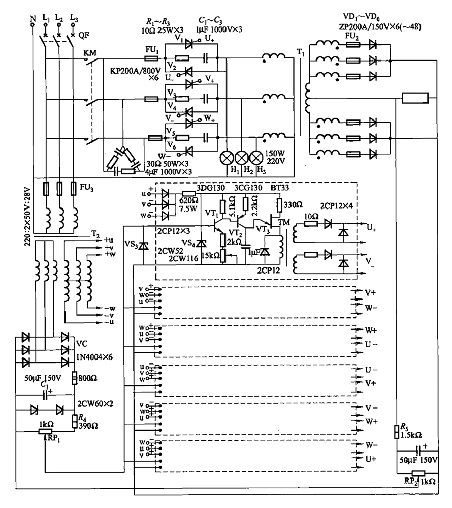 1200 to 6000A-10V three-phase thyristor power regulator circuit plating - schematic