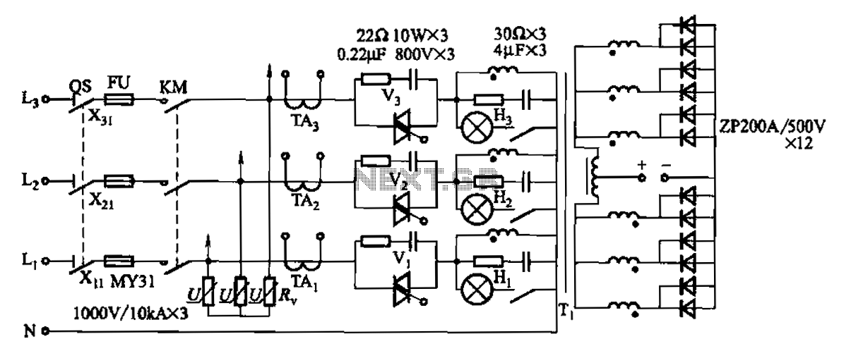 1500A-7V-phase thyristor power regulator circuit a plating