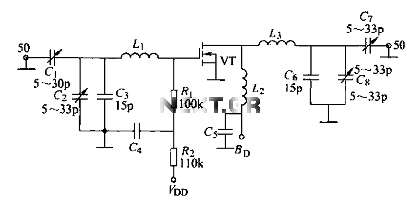 175MHz high-frequency amplifier circuit composed by a field effect transistor - schematic