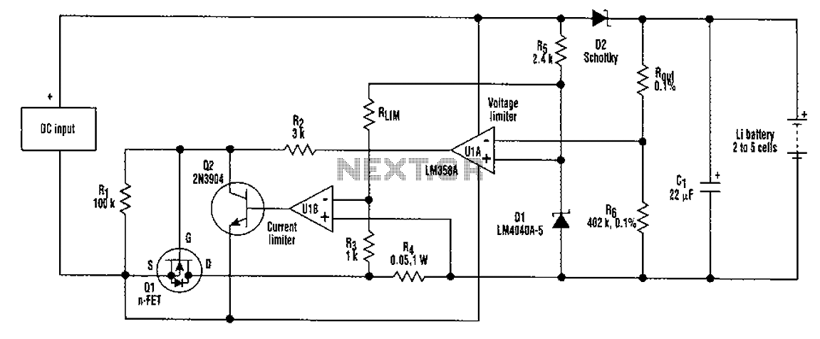 2-5-cell lithium battery charger circuit - schematic