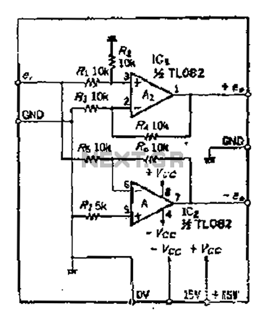 2 small magnification difference between the balanced output circuit - schematic