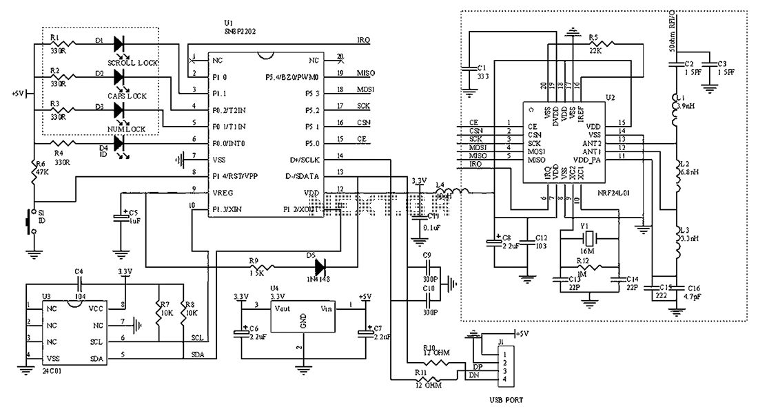 2.4G wireless keyboard receiver part of the circuit - schematic