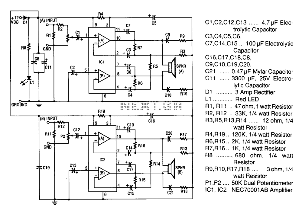 Audio \u003e Lifiers 20w Stereo Lifier Circuit Diagram Rhnextgr: Stereo Audio Lifier Circuit Diagram At Elf-jo.com