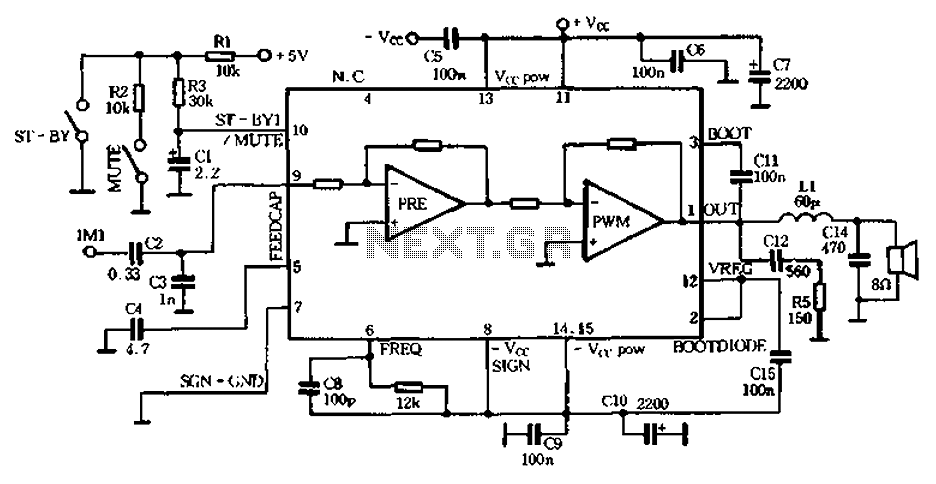 25W single-chip audio Class D amplifier IC-TDA7482 - schematic