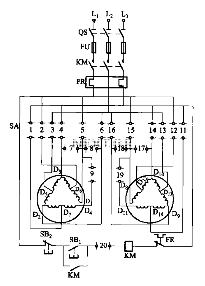2Y-Y-2 - connection four-speed motor switch control circuit - schematic