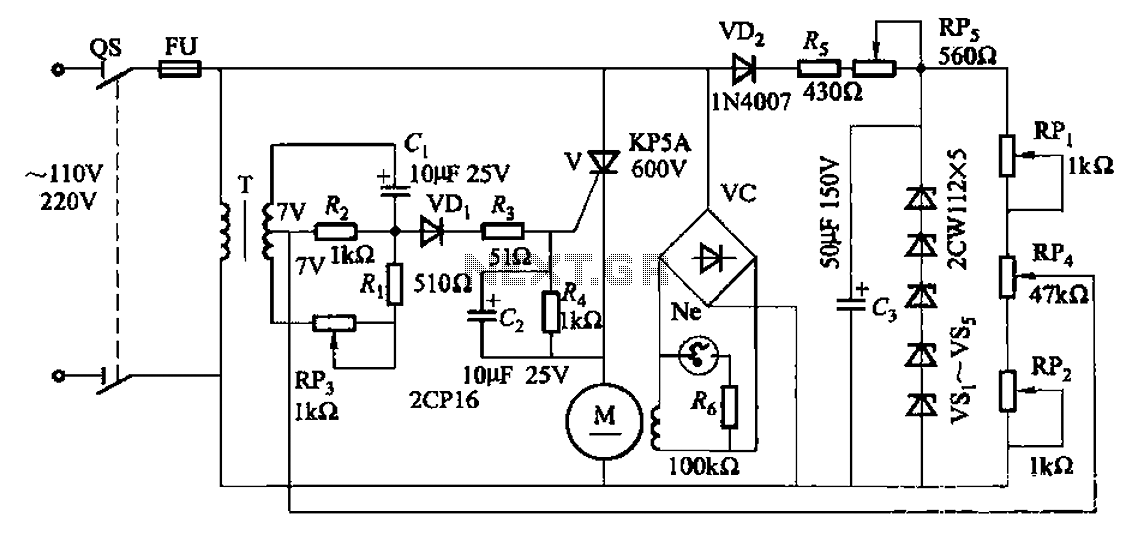 35W resistive and capacitive half-wave phase-shift trigger doer control circuit - schematic