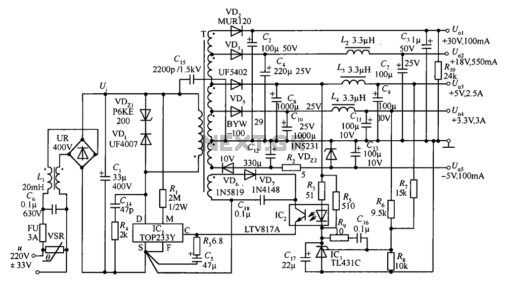35W switching power supply circuit having a set-top box output of 5 - schematic