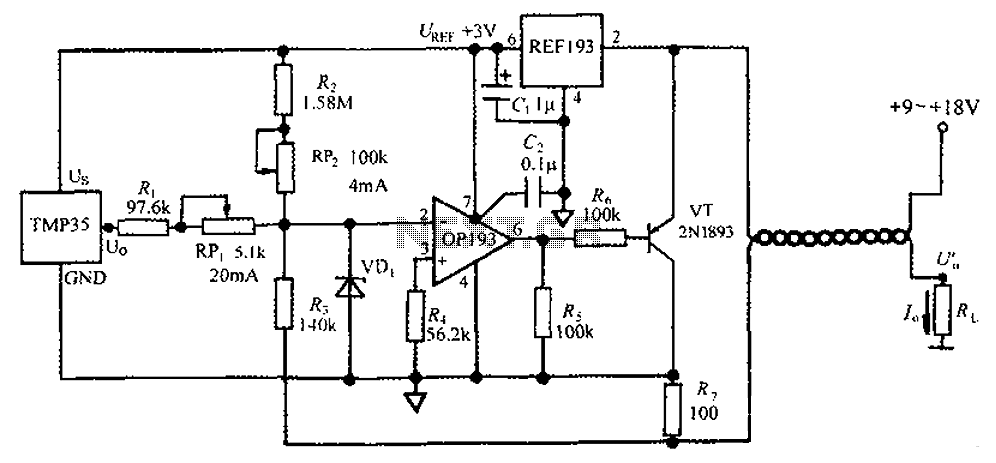 4 ~ 20mA transmitter circuit diagram TMP35 temperature - schematic