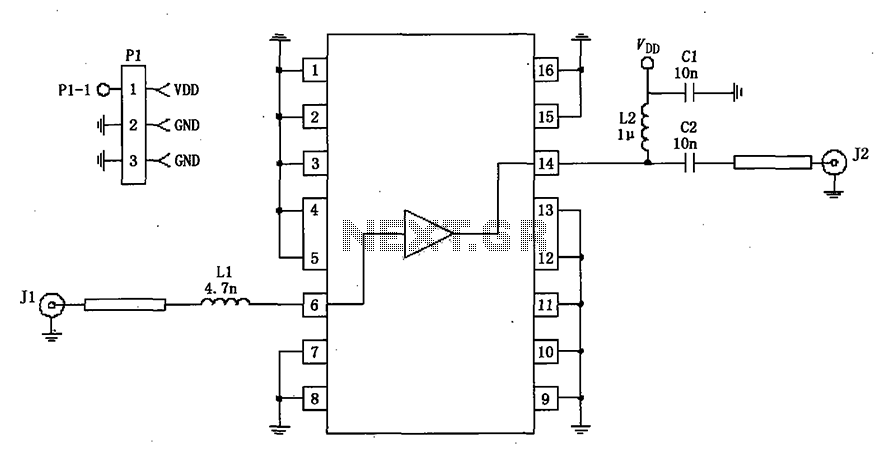 50 impedance RF2320 linear amplification circuit diagram