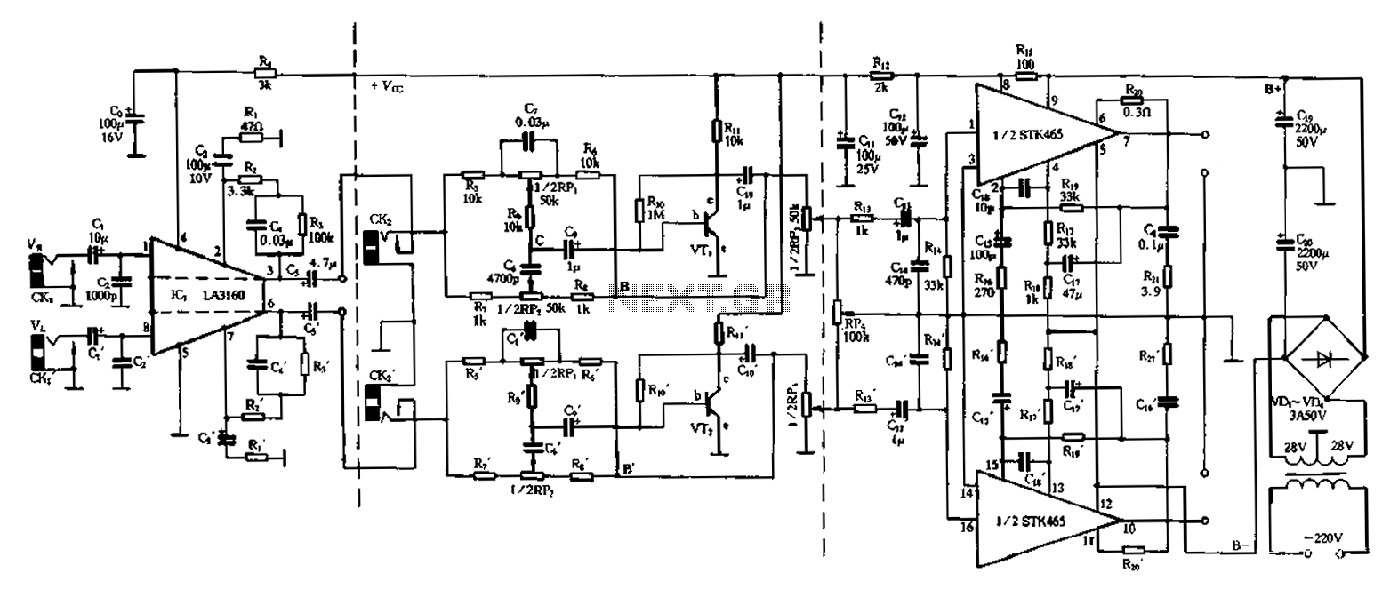 50Wx2 amplifier circuit - schematic