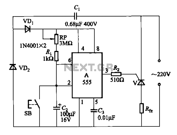 555 IC using a delay circuit of the four b - schematic