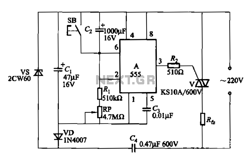 555 IC using a delay circuit ter - schematic