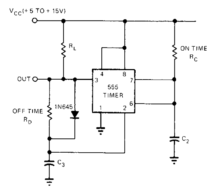 555 Timer astable oscillator circuit - schematic
